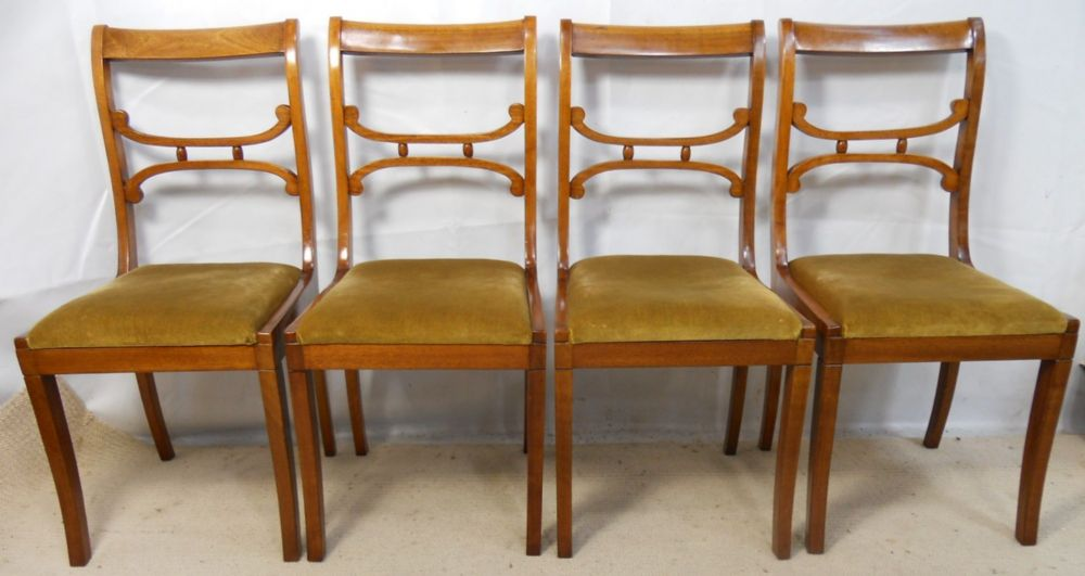 Set of Four Mahogany Framed Upholstered Seat Dining Chairs